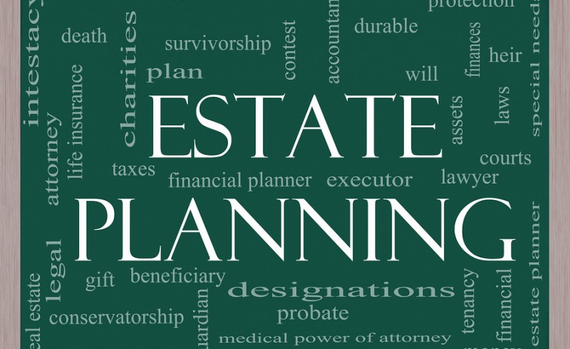 Estate Planning Word Cloud Concept on a Chalkboard with great terms such as durable will financials lawyer executor probate and more.
